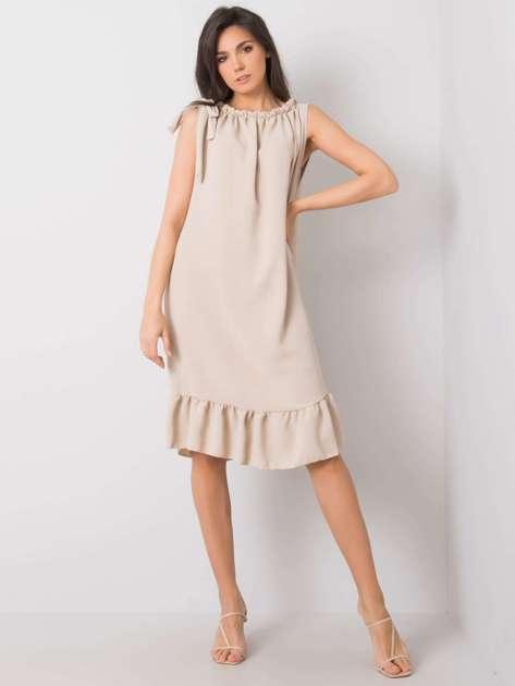 Beżowa sukienka z falbaną Domenica
