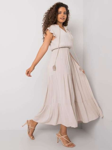 Beżowa sukienka z wiskozy Lillee OCH BELLA