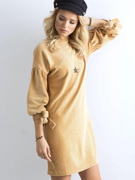 Beżowa sztruksowa sukienka                              zdj.                              6