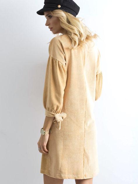 Beżowa sztruksowa sukienka                              zdj.                              2