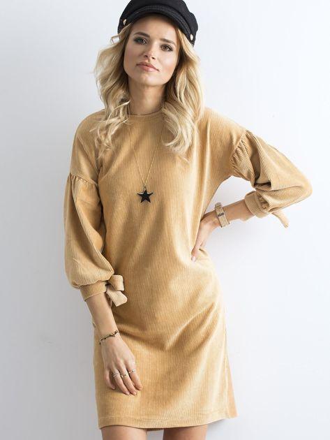 Beżowa sztruksowa sukienka                              zdj.                              5