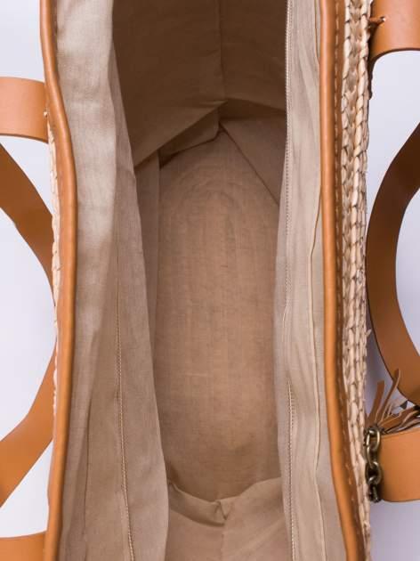 Beżowa torba koszyk plażowy ze skórzanymi rączkami                                  zdj.                                  6