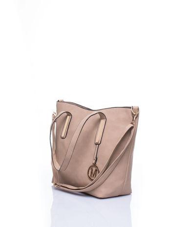 Beżowa torba na ramię ze złotym emblematem                                  zdj.                                  5
