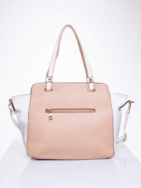 Beżowa torba shopper bag z ozdobnymi ćwiekami                                  zdj.                                  2