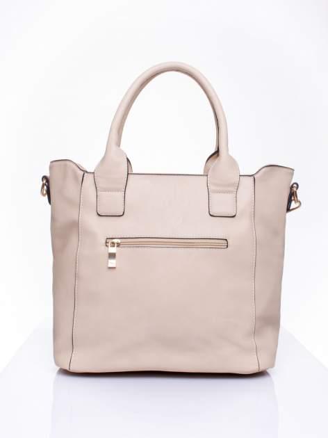 Beżowa torba shopper ze stębnowaniem                                  zdj.                                  3