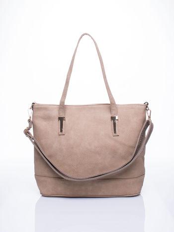Beżowa torba shopperka z odczepianym paskiem