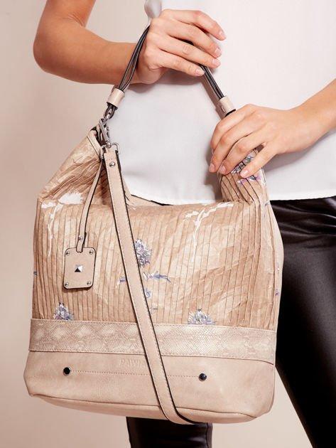 Beżowa torba z łączonych materiałów w stylu japońskim                              zdj.                              2