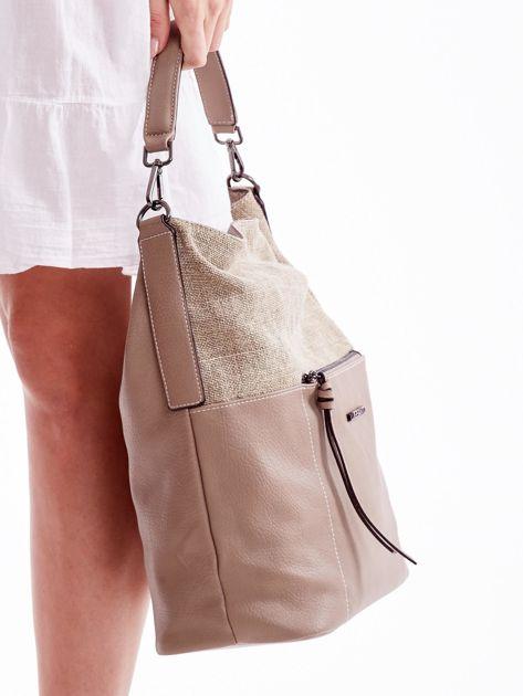 Beżowa torba z płócienną wstawką                               zdj.                              3