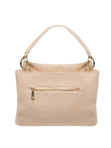 Beżowa torebka na ramię tłoczona na wzór skóry krokodyla                                  zdj.                                  2