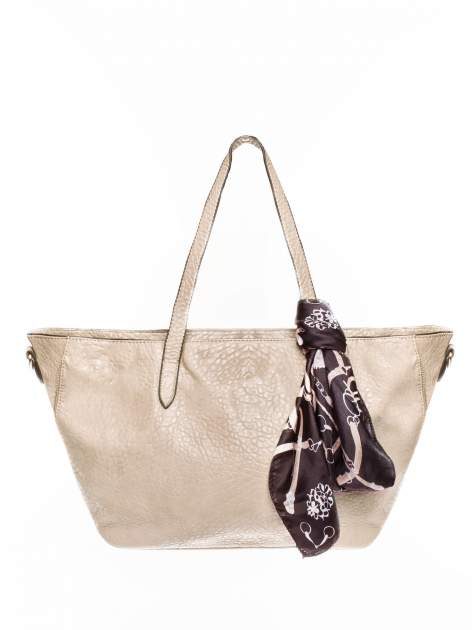 Beżowa torebka shopper bag z apaszką