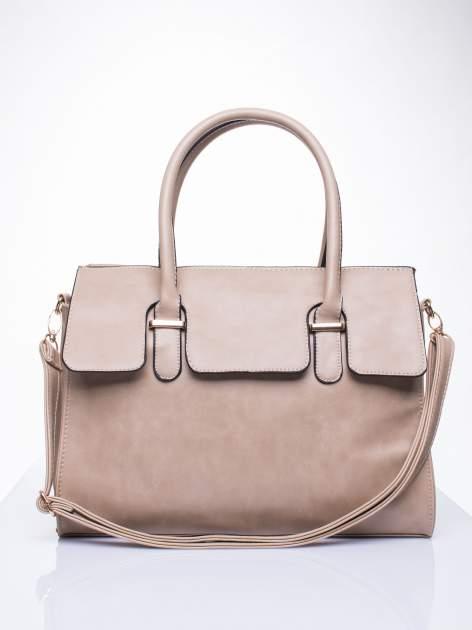 Beżowa torebka teczka z klapką