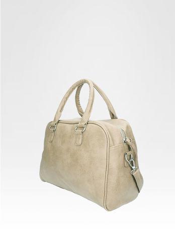 Beżowa torebka typu miękki kuferek z dodatkowym paskiem                                  zdj.                                  3