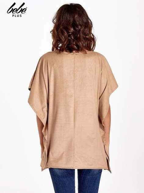 Beżowa zamszowa bluzka z haftem w stylu boho                                  zdj.                                  3