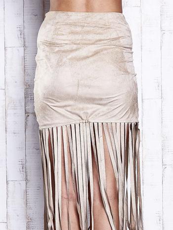 Beżowa zamszowa spódnica z frędzlami                                  zdj.                                  7