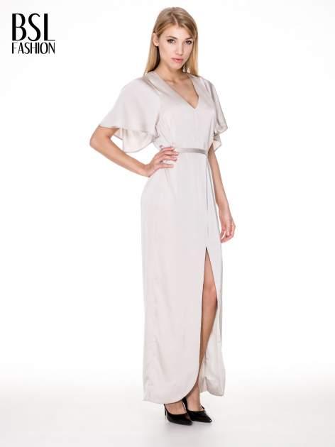 Beżowa zwiewna sukienka maxi z satyny                                  zdj.                                  1