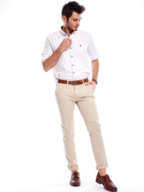 Beżowe bawełniane spodnie męskie chinosy                               zdj.                              10