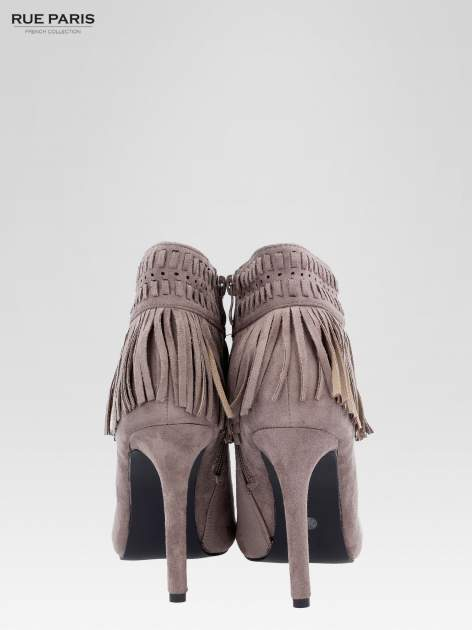 Beżowe botki faux suede Suzie open toe z frędzlami w stylu boho                                  zdj.                                  3