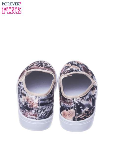 Beżowe buty slip on we wzór animal print                                  zdj.                                  3