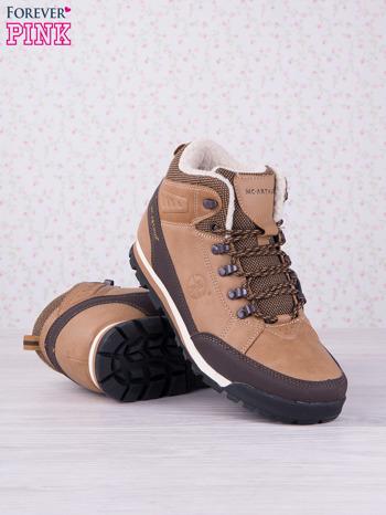 Beżowe buty sportowe eco leather Trip z brązowymi skórzanymi wstawkami                                  zdj.                                  3