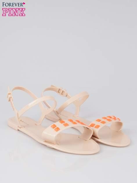 Beżowe gumowe sandały meliski Julissa z dżetami