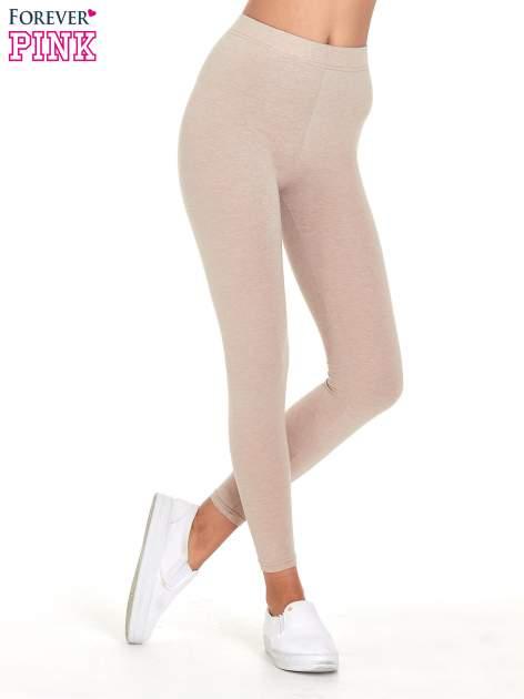 Beżowe melanżowe legginsy damskie basic                                  zdj.                                  1