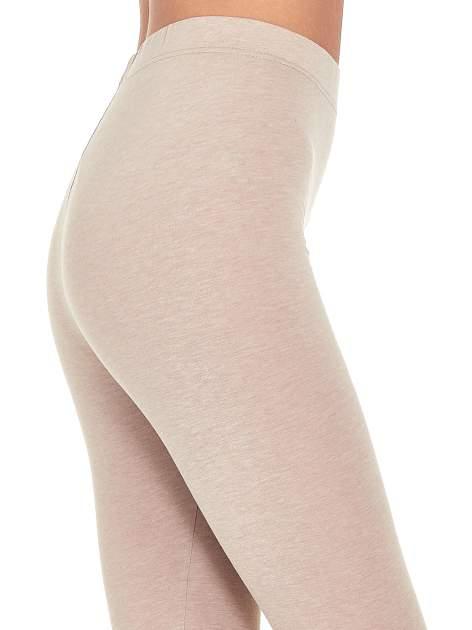 Beżowe melanżowe legginsy damskie basic                                  zdj.                                  5