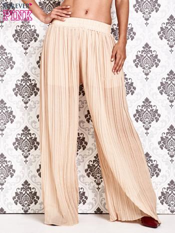 Beżowe plisowane spodnie palazzo                                   zdj.                                  1