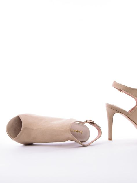 Beżowe sandały SABATINA z głęboko wyciętą cholewką                               zdj.                              5