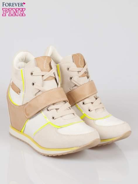 Beżowe sneakersy damskie w stylu casual                                  zdj.                                  2
