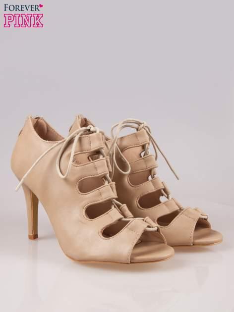Beżowe wiązane sandały typu gladiatorki Dion                                  zdj.                                  2