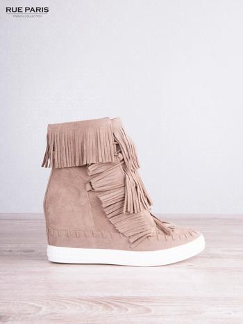 Beżowe zamszowe sneakersy Aravia z frędzelkami na koturnach                                  zdj.                                  2