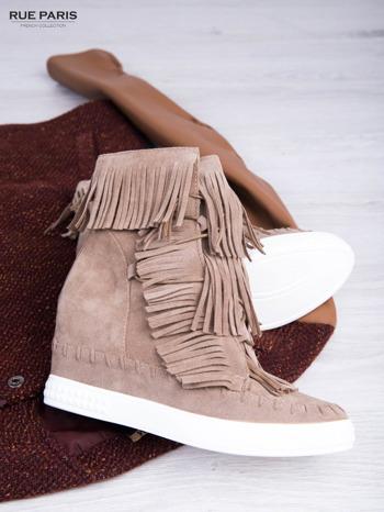 Beżowe zamszowe sneakersy Aravia z frędzelkami na koturnach                                  zdj.                                  1