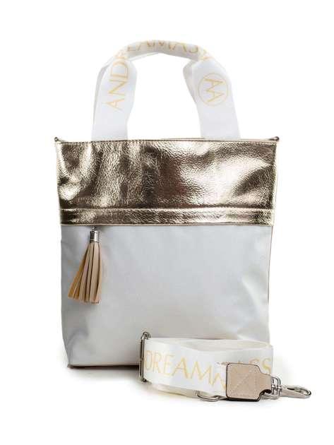 Beżowo-biała torba z odpinanym paskiem