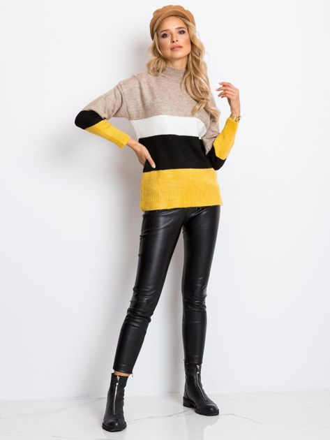 Beżowo-biały sweter Denise                              zdj.                              4