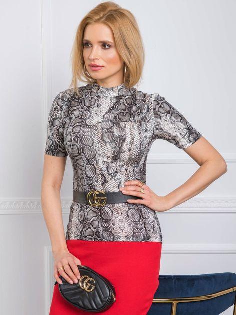 Beżowo-czarna bluzka Candy RUE PARIS