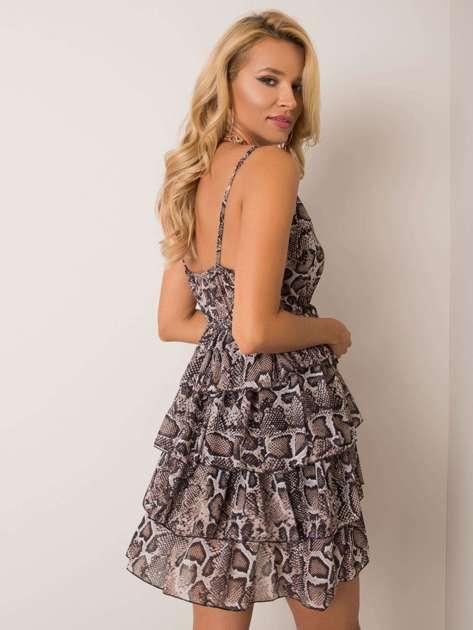 Beżowo-czarna sukienka Zenna OCH BELLA
