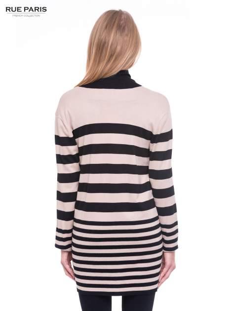 Beżowo-czarny pasiasty otwarty sweter kardigan z prążkowanym kołnierzem                                  zdj.                                  4
