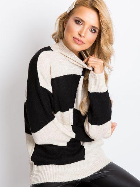 Beżowo-czarny sweter Francesca