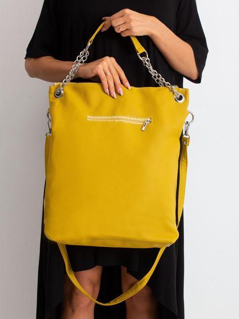 Beżowo-oliwkowa torba z ekoskóry                              zdj.                              3