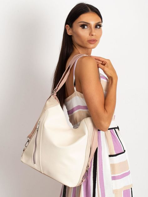 Beżowo-różowa torba city bag                              zdj.                              4