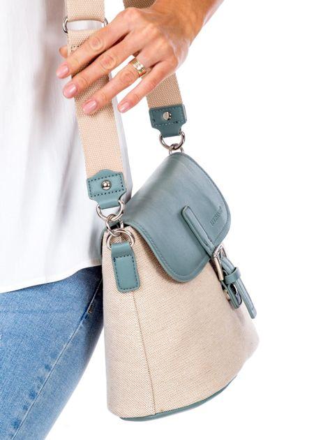 Beżowo-zielona materiałowa torba z klapką                              zdj.                              3