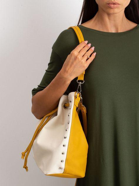 Beżowo-żółta torba ze ściągaczem                              zdj.                              3