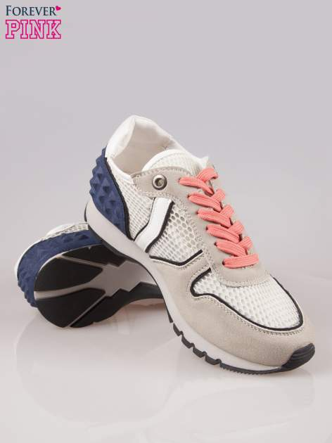 Beżowoniebieskie buty sportowe Dragon z siateczką na wysokiej podeszwie                                  zdj.                                  4