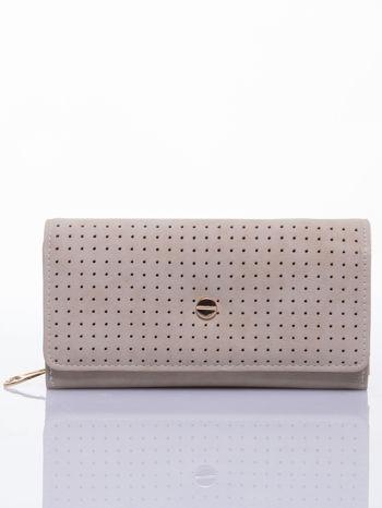 Beżowy ażurowany portfel ze złotym suwakiem                                  zdj.                                  1