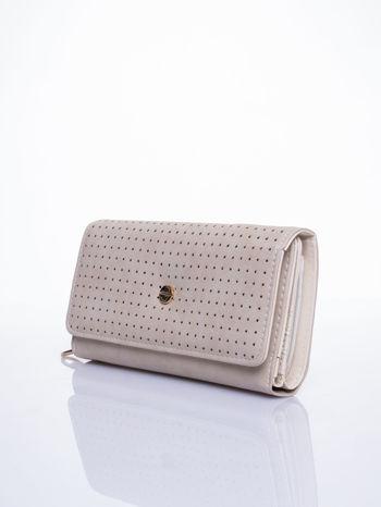 Beżowy ażurowany portfel ze złotym suwakiem                                  zdj.                                  2