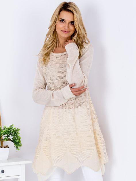 Beżowy ażurowy sweter damski                              zdj.                              1