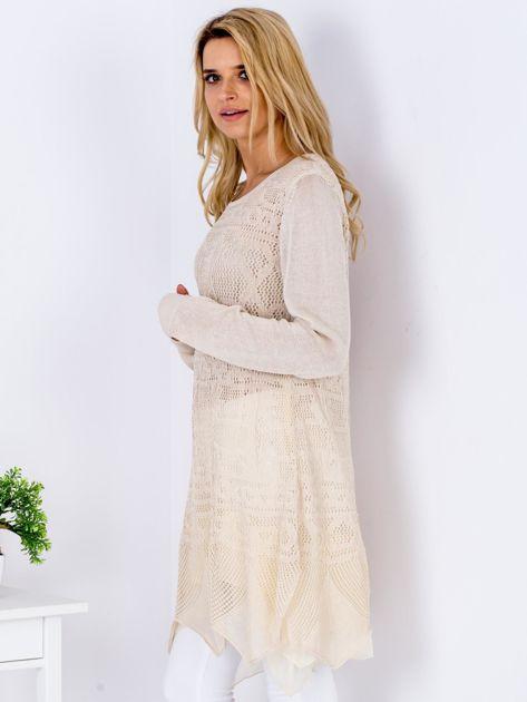 Beżowy ażurowy sweter damski                              zdj.                              5