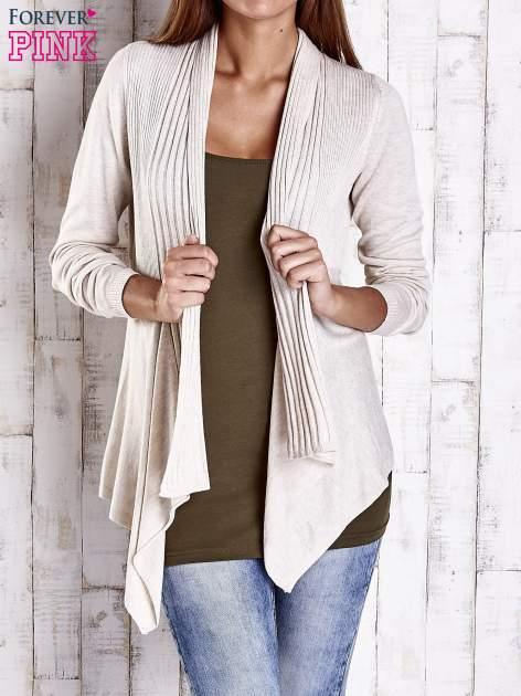 Beżowy długi sweter z wykończeniem w prążki                                  zdj.                                  1