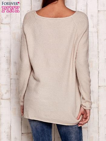 Beżowy dzianinowy sweter                                   zdj.                                  4