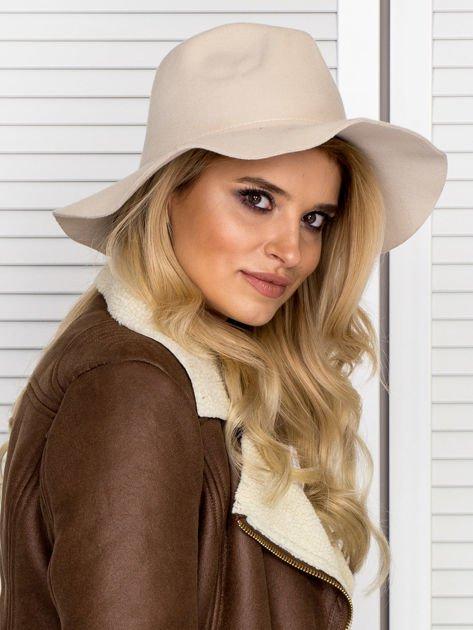 Beżowy filcowy kapelusz damski                                   zdj.                                  4